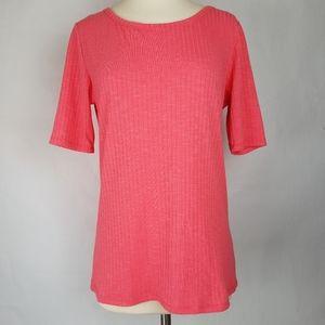 LuLaRoe Gigi pink ribbed short sleeve t-shirt M